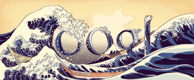 Google Logo: 250th birthday of Katsushika Hokusai, famous japonese painter