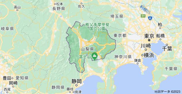 山梨県の地図