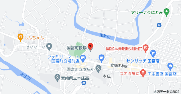 〒880-1101 宮崎県東諸県郡国富町本庄4800の地図