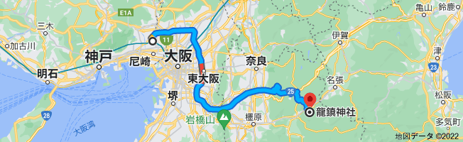 龍鎮神社までの地図